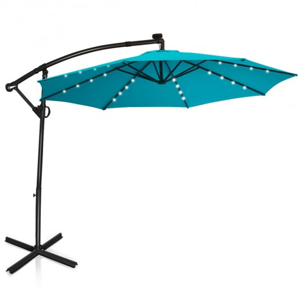 10FT 360 Rotation Solar Powered LED Patio Offset Umbrella-Turquoise