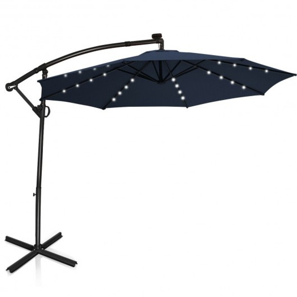 10FT 360 Rotation Solar Powered LED Patio Offset Umbrella-Navy