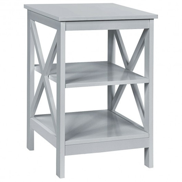 3-Tier Nightstand End Table with X Design Storage -Gray