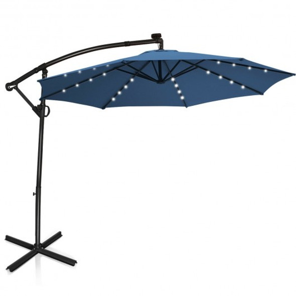 10FT 360 Rotation Solar Powered LED Patio Offset Umbrella-Blue