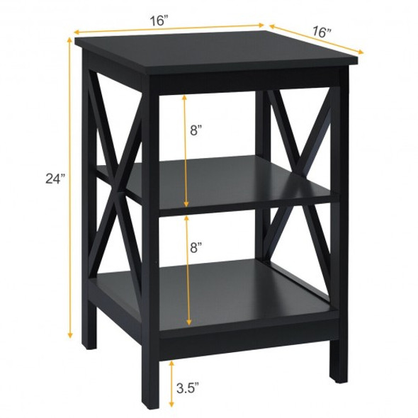 3-Tier Nightstand End Table with X Design Storage -Black