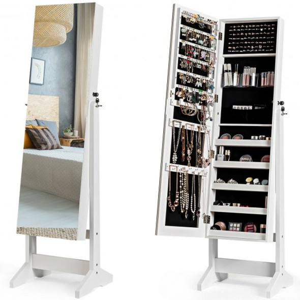 Standing Jewelry Armoire Cabinet with Full Length Mirror-White
