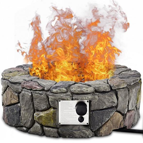 "28"" Propane Gas Fire Pit Outdoor  Finish Lava Rocks Cover"