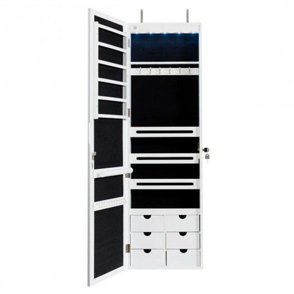 5 LEDs Mirror Jewelry Armoire Wall Door Mounted-White