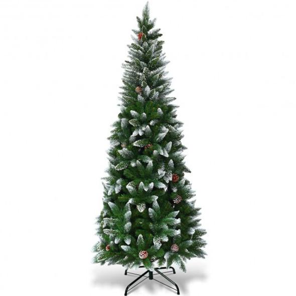 5' / 6' / 7.5' Artificial Pencil Christmas Tree with Pine Cones-6'