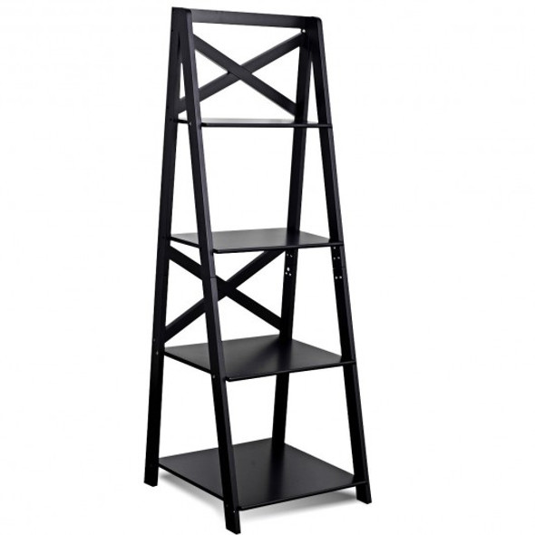 4-Tier Leaning Free Standing Ladder Shelf Bookcase - COHW66096BK