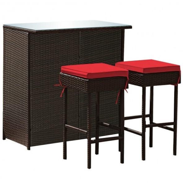 3PCS Patio Rattan Wicker Bar Table Stools Dining Set-Red