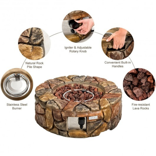 28'' Propane Gas Fire Pit Outdoor 40 000 BTU Stone-Brown