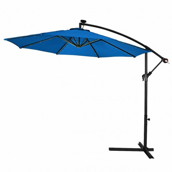 10' Patio Hanging Umbrella Sun Shade with Solar LED Lights-Blue