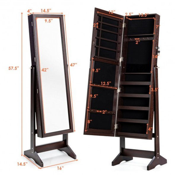 Jewelry Cabinet Stand Mirror Armoire with Large Storage Box-Brown