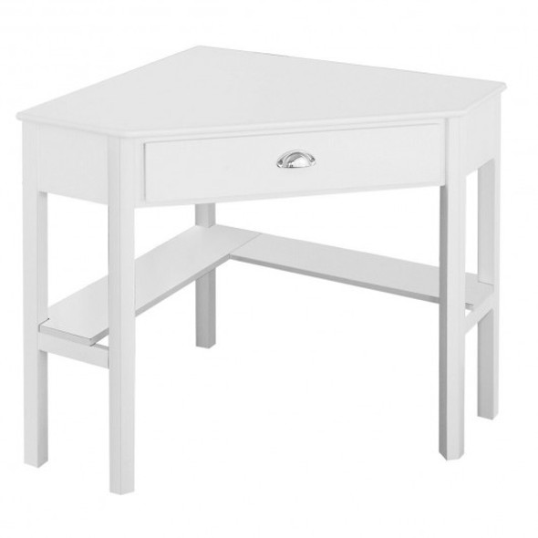 Corner Wooden PC Laptop Computer Desk-White