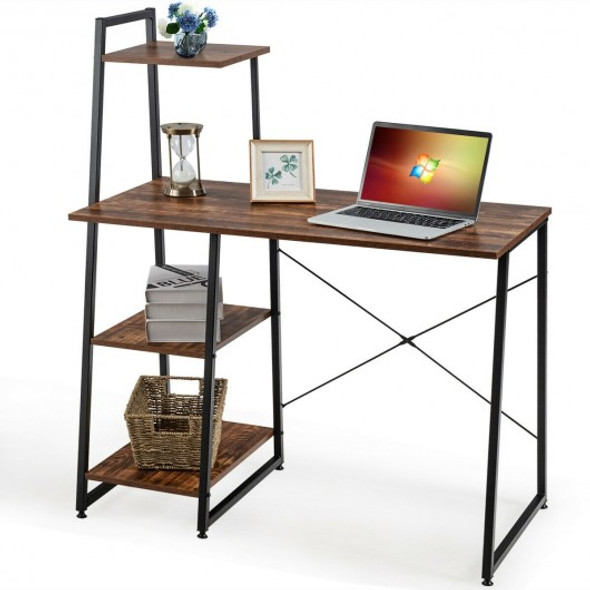 Computer Desk with Shelves Study Writing Desk Workstation Bookshelf-Brown