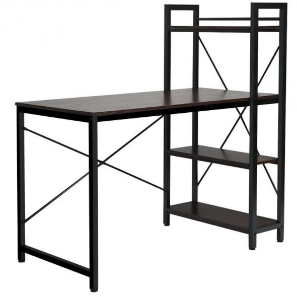 4 Tier Storage Shelves Computer Desk-Brown
