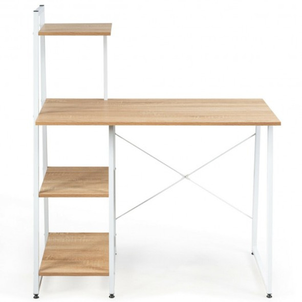 Computer Desk with Shelves Study Writing Desk Workstation Bookshelf-Natural