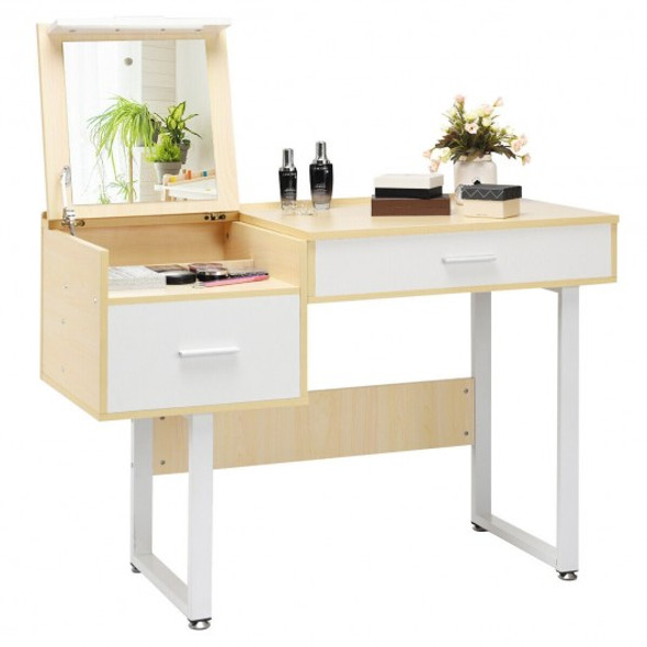 Square Mirror Makeup Dressing Table with Flip Top - COHW65933