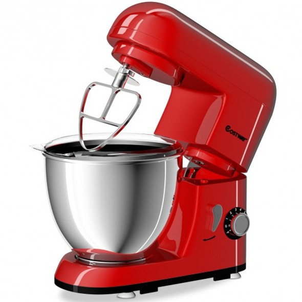 4.3 Qt 550 W Tilt-Head Stainless Steel Bowl Electric Food Stand Mixer-Red