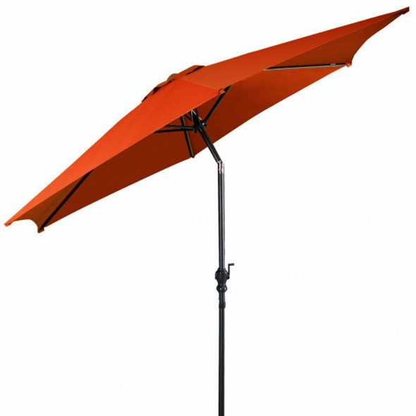 10 ft 6 Ribs Patio Umbrella with Crank-Orange