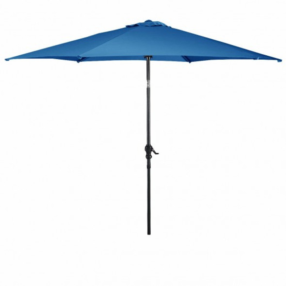 10 ft 6 Ribs Patio Umbrella with Crank-Blue