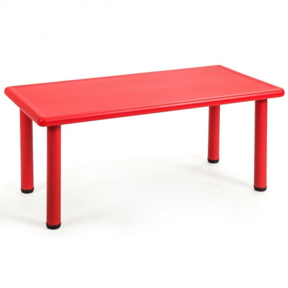 Kids Plastic Rectangular Learn and Play Table-Red