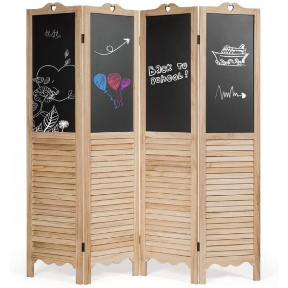 4-Panel Folding Privacy Room Divider Screen with Chalkboard