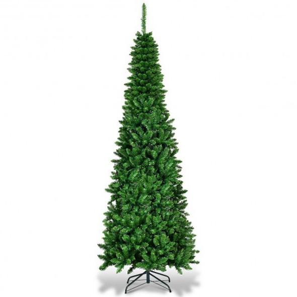 6.5' / 7.5' Pre-Lit Hinged Artificial Pencil Christmas Tree-6.5'