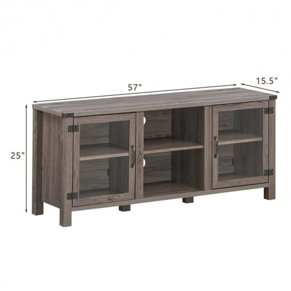 TV Stand Entertainment Center for TV's with Storage Cabinets-Taupe