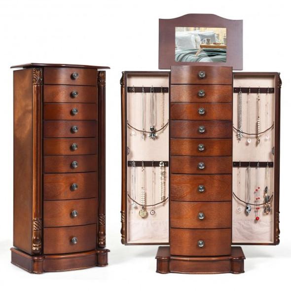 Large Wooden Jewelry Storage Box Organizer - COHW65836