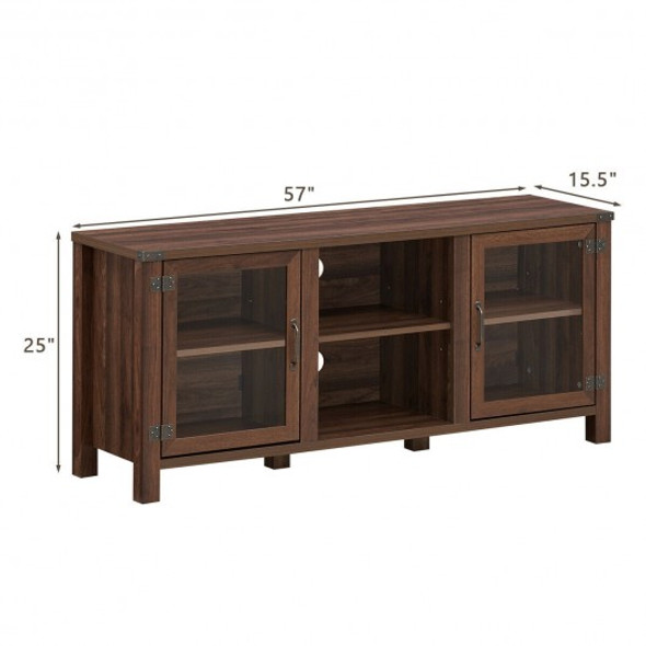 TV Stand Entertainment Center for TV's with Storage Cabinets-Walnut