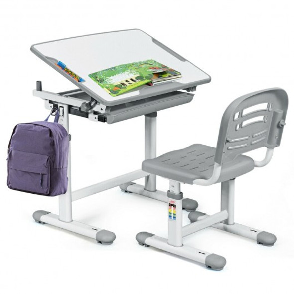 Height Adjustable Childrens Desk Chair Set -Gray
