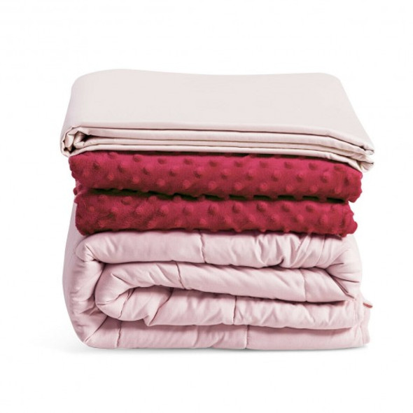 3 Piece 7lbs Heavy Weighted Blanket-Pink