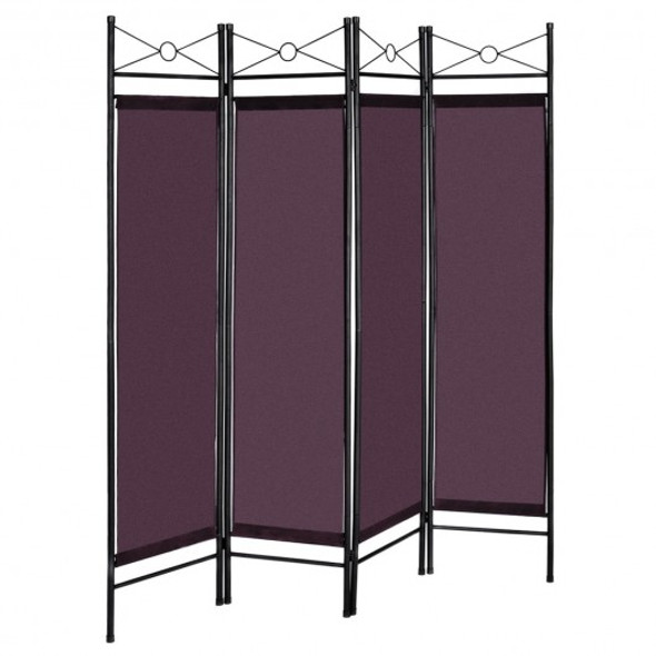 4 Panels Metal Frame Room Private Folding Screen-Brown