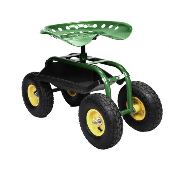 Red/Green Garden Cart Rolling Work Seat With Heavy Duty Tool Tray Gardening Planting-Green