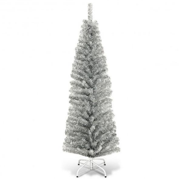 6 ft Tinsel Tree Unlit Slim Pencil Christmas Tree-Silver