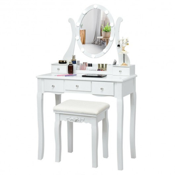 Touch Switch Makeup Dressing Vanity Table Set with 10 Light Bulbs-White - COHW66048US-WH