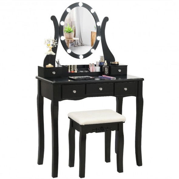 Touch Switch Makeup Dressing Vanity Table Set with 10 Light Bulbs-Black