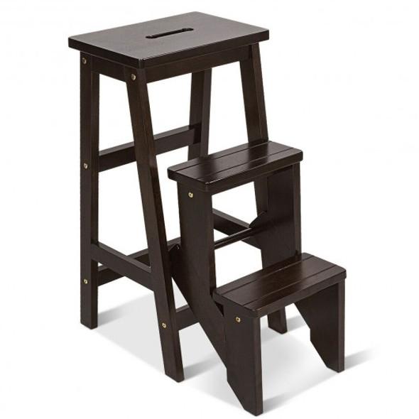 3 Tier Step Stool 3 in 1 Folding Ladder Bench-Brown