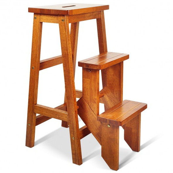 3 Tier Step Stool 3 in 1 Folding Ladder Bench-Natural