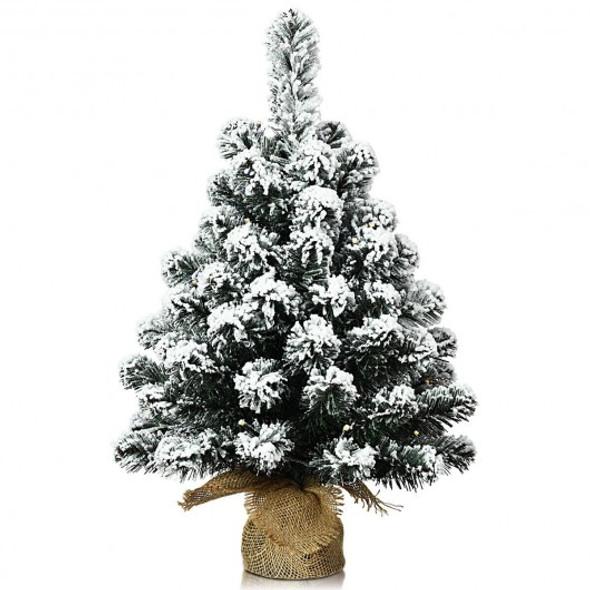 "24"" Pre-Lit Snow Flocked Tabletop LED Light Christmas Tree"