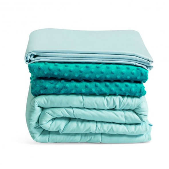 """60"""" x 80"""" Weighted Blanket with Hot & Cold Duvet Covers -Green"""
