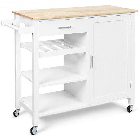 4-Tier Wood Drawer Kitchen Cart with Storage Shelf and Casters - COHW66112WH