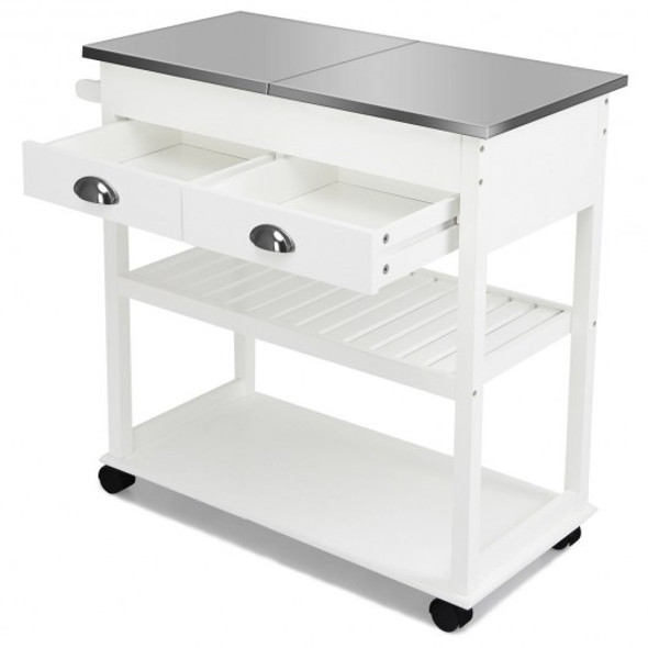 Stainless Steel Mobile Kitchen Trolley Cart With Drawers & Casters-White
