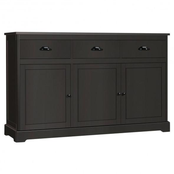 3 Drawers Sideboard Buffet Storage Cabinet-Brown