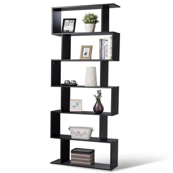 6-Tier S-Shaped Bookcase Z-Shelf Style Storage Bookshelf-Black