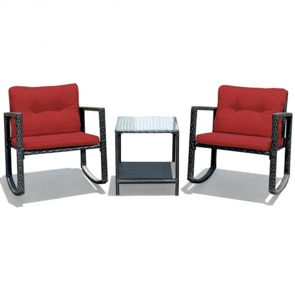 3 Pcs Patio Rattan Set Rocking Chair Cushioned Sofa Garden Furniture-Red