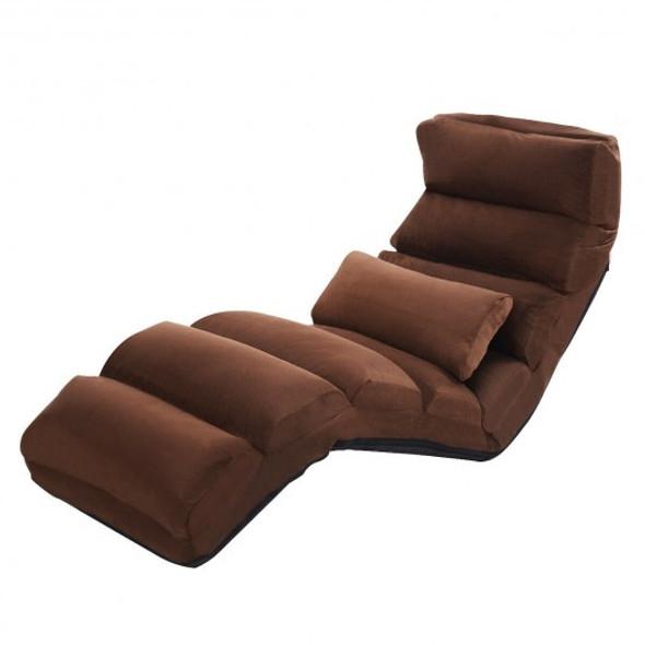 Stylish  Folding Lazy Sofa Chair with Pillow-Coffee