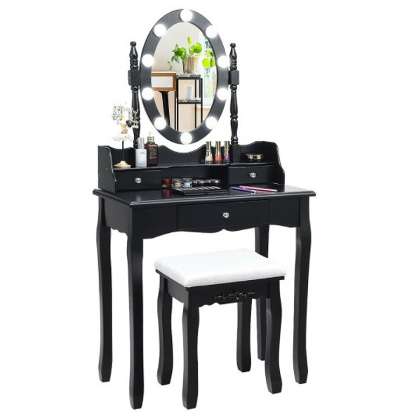Oval Mirror Vanity Set  with 10 LED Dimmable Bulbs and 3 Drawers-Black - COHW66052US-BK