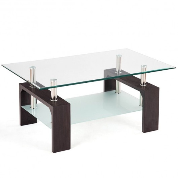 Rectangular Tempered Glass Coffee Table with Shelf-Brown