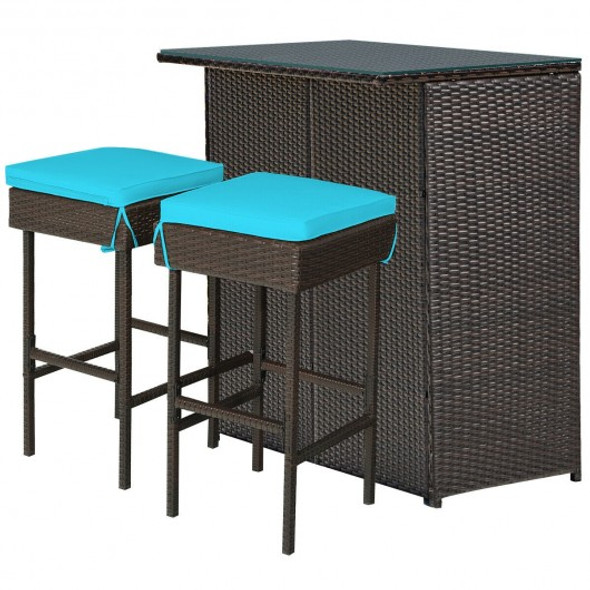3PCS Patio Rattan Wicker Bar Set