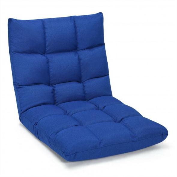 14-Position Adjustable Folding Lazy Gaming Sofa-Blue