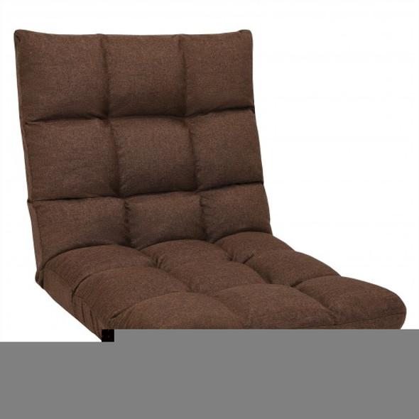 14-Position Adjustable Folding Lazy Gaming Sofa-Coffee